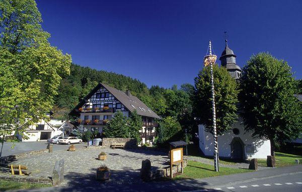 Ortsansicht mit Maibaum und Kapelle